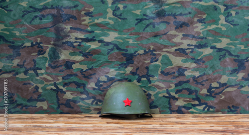 old worn military helmet