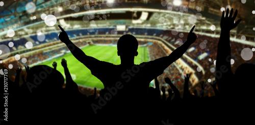 Leinwanddruck Bild Fans im Fussball Stadion