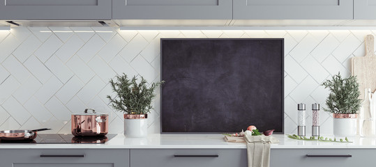 Mock up poster frame in kitchen interior, Scandinavian style, panoramic background, 3d render © artjafara