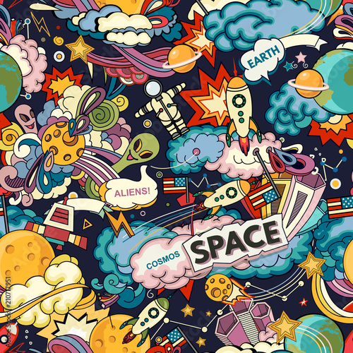 Cosmos vector background. Cartoon seamless background. Seamless pattern with cartoon space rockets, cosmonaut, planets, stars. - 210717951