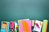 School supplies on chalkboard background - 210718110