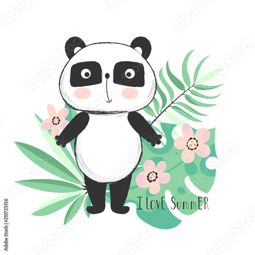 Fototapeta Cute panda bear with tropical leaves