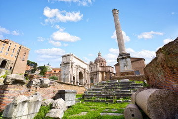 Column of Phocas and ruins of Roman Forum, Rome, Italy