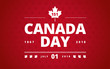 Canada Day greeting card red background - Canada Day typography design, Canada maple leaf vector