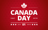 Canada Day greeting card red background - Canada Day typography design, Canada maple leaf vector - 210736537