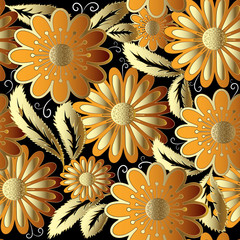 Gold flowers ornate vector seamless pattern.