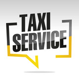 Taxi service in brackets speech black yellow white isolated sticker icon - 210743726