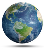Planet Earth on white. 3d rendering