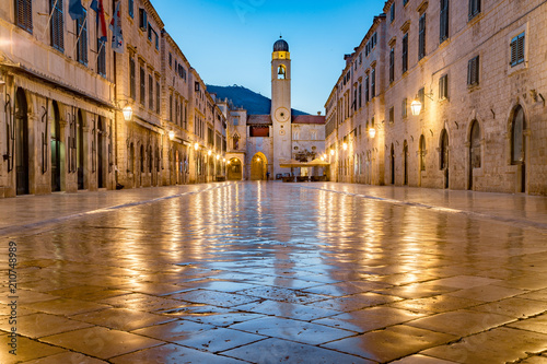 Old town of Dubrovnik at twilight, Dalmatia, Croatia - 210748989