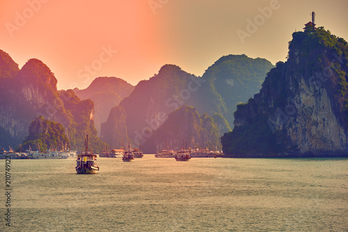 Plexiglas Koraal Halong bay boats,Sunset at Ha Long Bay scenic view , Hanoi, Vietnam , Southeast Asia