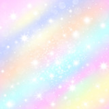 Vanilla sky sundogs morning pastel rainbow tints background with shining stars. Sparkling stardust glitter for princess celebrations posters and banners. Dreamy holographic mood banner.