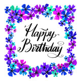 Hand drawn vector lettering. Happy Birthday phrase by hand on bright floral background. Handwritten modern calligraphy. Inscription for postcards, posters, prints, greeting cards. - 210758545