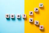 Würfel mit Pfeilen und einer Gabelung symbolisieren die Entscheidung zwischen zwei Pfaden in die Zukunft