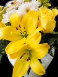 Yellow rose and lily bouquet