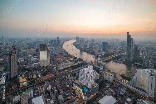 Plexiglas Bangkok Aerial view of Bangkok cityscape and Chao Praya river