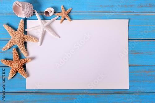Foto Murales Starfish seashore paper poster old weathered blue beach wood deck frame