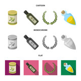 A can of canned olives, a bottle of oil with a sticker, an olive wreath, a glass jar with a cork. Olives set collection icons in cartoon,flat,monochrome style vector symbol stock illustration web. - 210781767