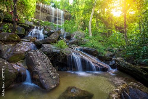 Waterfall beautiful in rain forest at Soo Da Cave Roi et Thailand - 210797336