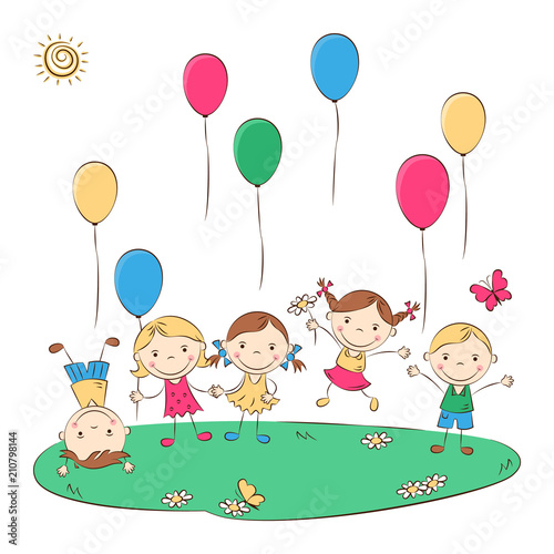 Funny doodle kids with colored balloons. Happy cartoon boys and girls. Holidays, vacations, weekends. Vector illustration - 210798144