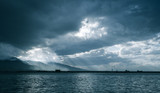Bay of Izmir, Turkey. Blue toned photo - 210802121