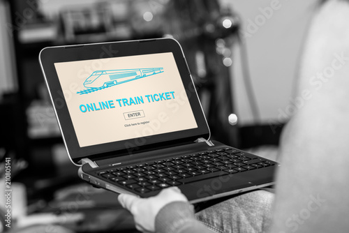 Online train ticket concept on a tablet