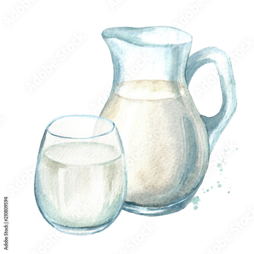 obraz lub plakat Dairy products. Jug with milk and glass. Watercolor hand drawn illustration isolated on white background