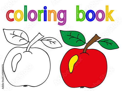 book coloring apple