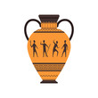 Ancient vase or amphora with traditional Roman ornament vector Illustration on a white background