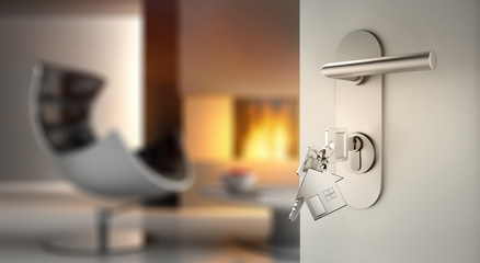 Offene Tür mit Schlüsseln vor gemütlichem Wohnzimmer