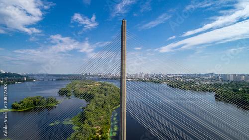 Aerial view of the South Bridge. Aerial view of South subway cable bridge. Kiev, Ukraine. © ronedya