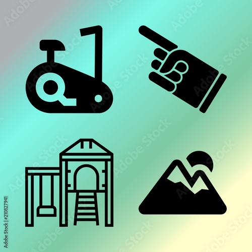 Foto Spatwand Groene koraal Vector icon set about fitness and sport with 4 icons related to professional, healthy, morning, kindergarten and young
