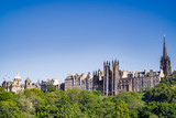 A view of Edinburgh Old Town, from Princes Street.  Buildings left to right, Original head office of the Bank of Scotland, General Assembly Hall of Church of Scotland, Tron Kirk spire. - 210828915
