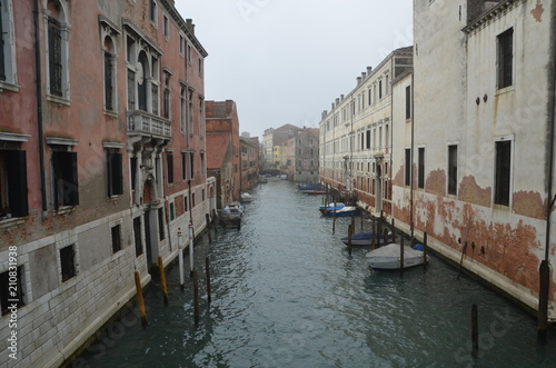 venice italy canal fog water morning