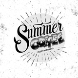 Grunge typography coffee menu design. Lettering poster Summer coffee every morning - 210832129
