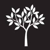White Tree on black background. Vector Illustration.