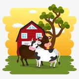 cows in the farm scene vector illustration design - 210838594
