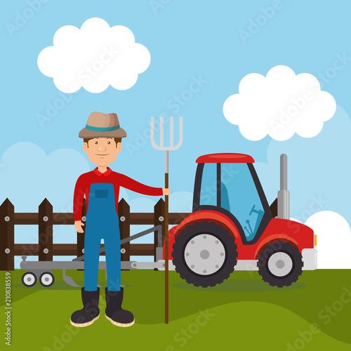 farmer in the farm scene vector illustration design