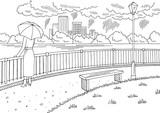 City river graphic black white rain landscape sketch illustration vector. Woman standing with umbrella - 210840153