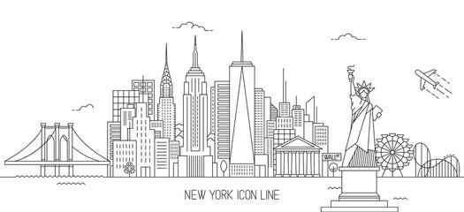 New York skyline line art style