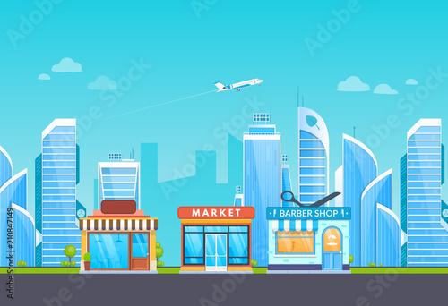 Fotobehang Turkoois Building shop, supermarket, barber shop salon, on background of city.