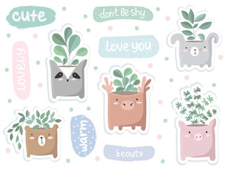 Vector set of cute stickers with house plant in funny animal pot
