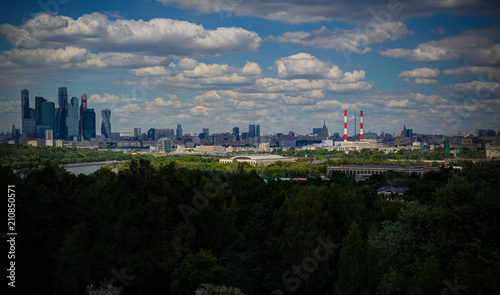 Aerial View to Luzhniki stadium, skyscrapers and historic city of Moscow from the Vorobyovy gory aka Sparrow hills during the FIFA World cup , Moscow, Russia