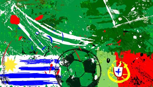 Fotobehang Abstract met Penseelstreken uruguay vs. portugal grunge soccer / football vector, portugal