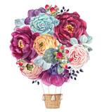 Watercolor floral air baloon - 210855375