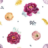 Watercolor floral pattern - 210855562