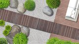 Minimalistischer japanischer Zen Garten mit Terrasse und Holzweg von oben © Wilm Ihlenfeld