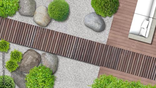 Minimalistischer japanischer Zen Garten mit Terrasse und Holzweg von oben - 210859353