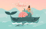 Hand drawn vector abstract cartoon summer time graphic marine illustrations art template background with blue ocean waves,sunset,big whale,corals and beauty mermaid girl isolated on blue background - 210861394