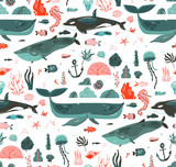 Hand drawn vector abstract cartoon graphic summer time underwater ocean bottom illustrations seamless pattern with coral reefs,beauty big whales,killer whale seaweeds isolated on white background - 210861504