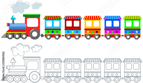 Printable coloring page for children featuring colorful train isolated